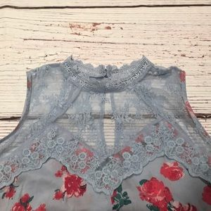 Dusky Blue Lace Romantic Top-NWT!!!